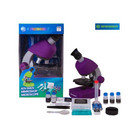 Bresser Junior 40x-640x, фиолетовый микроскоп