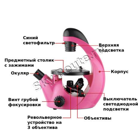 Микромед Эврика 40х-320х инвертированный (фуксия)