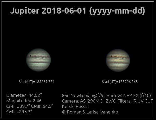 Фото Юпитера 01 июня 2018 года